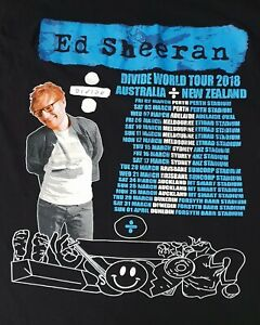 ED SHEERAN 2018 Australia/NZ Divide Tour Tee Shirt SZ/L Singer/Songwriter