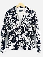 Sandro Sportswear Womens Medium White & Black Floral Blazer Career Jacket