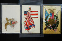 US 7 Early Patriotic Stamped Picture Postcards
