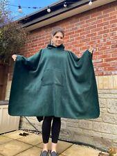 More details for bottle green fleece hooded blanket poncho / camp blanket