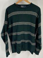 Polo Ralph Lauren Men Pullover Sweater Green Stripe Long Sleeve 100% Lambswool L