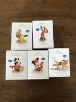 Hallmark 2012 Disney Characters Ready Set Snow Toboggan Complete Lot Of Five