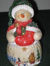 Hand Painted 8 Inch Snow Lady with a Stocking