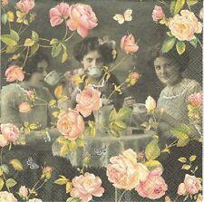 2 Serviettes papier Thé à la Rose Decoupage Paper Napkins Its Tea Time