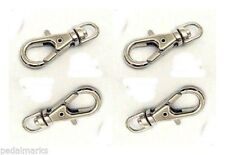 "12 ea 23mm ~1"" SWIVEL CLIPS for KEY RING~Cell Strap ~ Lobster Clasp Silver Metal"