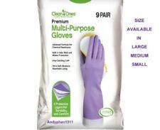 9 Pairs Clean Ones Premium Multi Purpose Rubber Gloves Hand Dish Washing- L/M/S