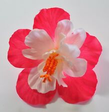 """Deluxe 4.5""""  White Cream Bright Hot Pink Double Hibiscus Silk Flower Hair Clip"""