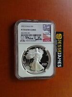 1992 S PROOF SILVER EAGLE NGC PF70 ULTRA CAMEO RARE MIKE CASTLE SIGNED LOW POP!