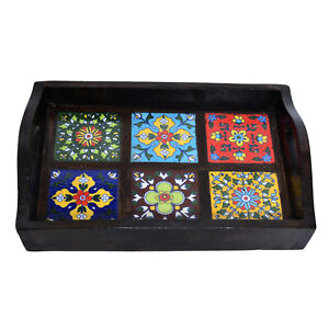 Torched Wood Tiles Rectangle Nesting Breakfast Coffee Table Butler Serving Tray