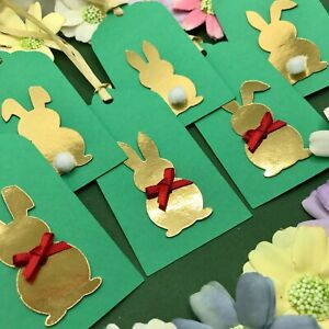 3/6/12 Handmade Gold Easter Bunny Green Egg Hunt Gift Tags - Bows & PomPom Tails