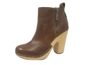 Dolce Vita Arlynn Wooden Heel Double Zip Platform Brown Leather Ankle Boot Size8