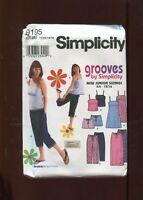 Simplicity Pattern 9195 Juniors Dress Top Skirt Pants Shorts Size 11/12 to 15/16