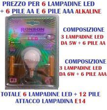 LAMPADINA LED E14 G45 SET DA 3 LAMPADE 5W=35W + 3 LAMPADE 6W=40W + 12 PILE