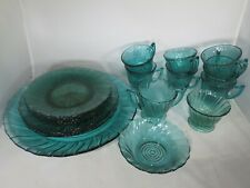 Set of 19 pcs Jeannette USA Swirl Ultramarine Teal Serving Tray Plates Cups More