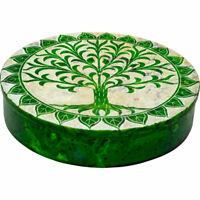 Soapstone Flat Round Box - Tree of Life - Green