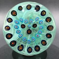 Vintage Signed Gentile Art Glass Paperweight Millefiori Heart Garland