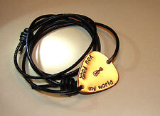 you rock my world guitar pick leather wrap bracelet