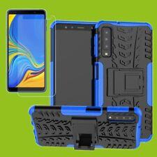 Per Samsung Galaxy A9 A920F Hybrid Borsa Esterno 2 Pezzi Blu + H9 Cover in Vetro