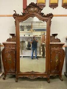 INCREDIBLE 1880'S OLD ITALIAN ANTIQUE WALNUT PAINTED CHERUB ARMOIRE - 13IT49A