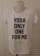 LADIES STAR WARS YODA SHORT SLEEVE TEE SHIRT TOP WHITE SIZE SMALL