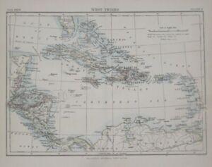 Original 1888 Johnston Map WEST INDIES Bahamas Cuba Jamaica Puerto Rico Honduras