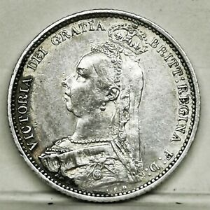 UK 1888 Victoria Sixpence Sterling Silver GEF - UNC Coin Low Mintage
