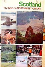 """NORTHWEST Orient AIRLINES POSTER TRAVEL """"Scotland"""" 1970's  ORIGINAL  DELTA"""