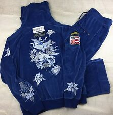 BOGNER Ski Athleisure Velour Track Suit Blue ML Embellished Soft