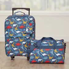 Dinosaur Luggage Set for Kids with Rolling Bag, Tote with Shoulder Strap - 2 Pc.