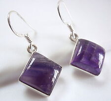 Amethyst Earrings 925 Sterling Silver Square Cube Dangle Drop New