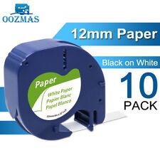 10pk Compatible Dymo Letratag Lt 100h Refill 91330 White Paper Label Tape 12mm