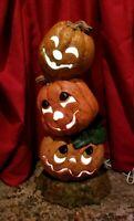 "Vintage Ceramic Halloween 3 silly orange Pumpkins Lighted decor 22"" tall"