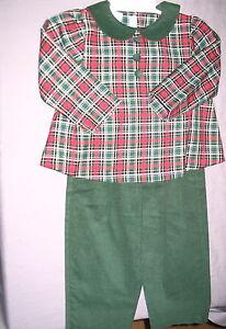Girls Pants Set PLAID 4 Red Green Corduroy Christmas Holiday Vive La Fete NEW
