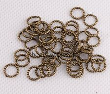 200PcsTibetan Silver Copper Tone Twist-Ring Charm For Jewelry Making DIY