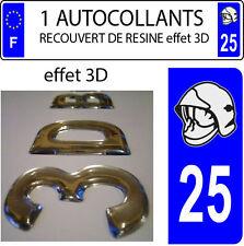 1 sticker plaque immatriculation auto DOMING 3D RESINE CASQUE DE POMPIER DEPA 25