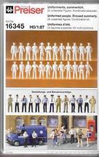 Preiser Uniformed People Dressed for, Figures Ho, 1/87, 24 Unpainted , 16345 St