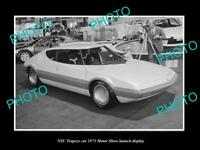 OLD LARGE HISTORIC PHOTO OF NSU TRAPEZE CAR 1973 MOTOR SHOW LAUNCH DISPLAY