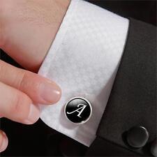 Mens initial letter black alphabet cufflink cuff link wedding formal business