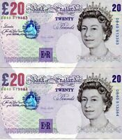 1999 Bank of England  2 Consecutive  20 Pounds Notes DB 40 513383 - DB 40 513384