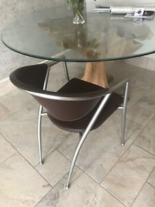Calligaris New York Dining Chairs Real Dark brown leather X 6 Iconic Design