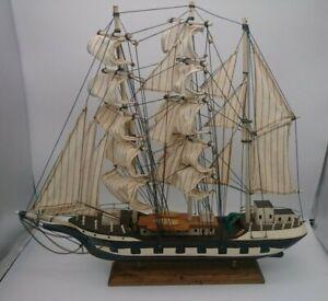 """Vintage Wooden & Cloth Sails Tall Clipper Ship Model 19.50"""" x 15.75"""""""