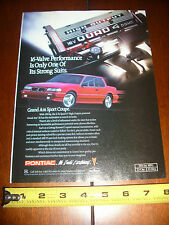 1991 PONTIAC GRAND AM 2.3 QUAD 4 HO 16V DOHC  - ORIGINAL AD