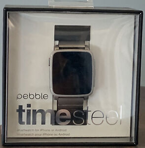 Pebble Time Steel Smart Watch 511-00023 Stainless Band Works! In Original Box