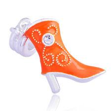 1pc Charms Womens Silver Filled European Zirconia Cubic Orange Enamel Shoe