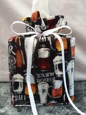 Beer Mugs & Glasses on black Cotton Fabric Handmade square Tissue Box Cover