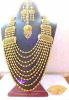 22K Gold Plated Step Ball Chain 9 Lines Indian Wedding Necklace Earrings Tikka
