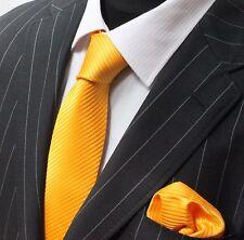 Tie Cravatta Con Fazzoletto Giallo Medio