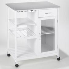 rQ Küchenrollwagen   76 x 48 x 88 cm   Holz   weiß   mit Rädern   5 Regalböden