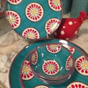 Melamine Dinnerware partial Set Teal Mandala Accents Ten Pieces
