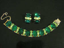 CORO PEGASUS EMERALD GREEN RHINESTONE BRACELET & EARRINGS